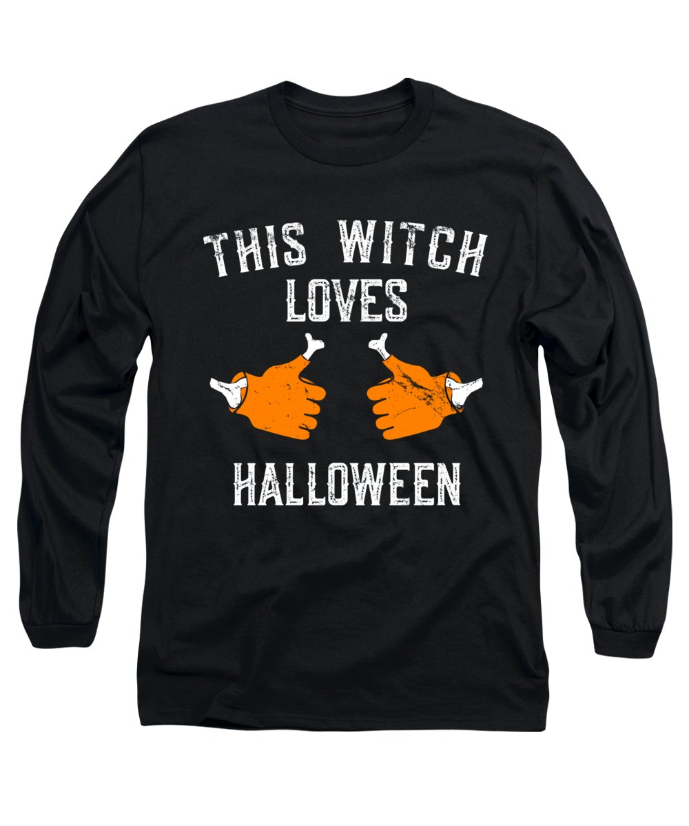Halloween Party Long Sleeve T-Shirt featuring the digital art This Witch Loves Halloween by Flippin Sweet Gear