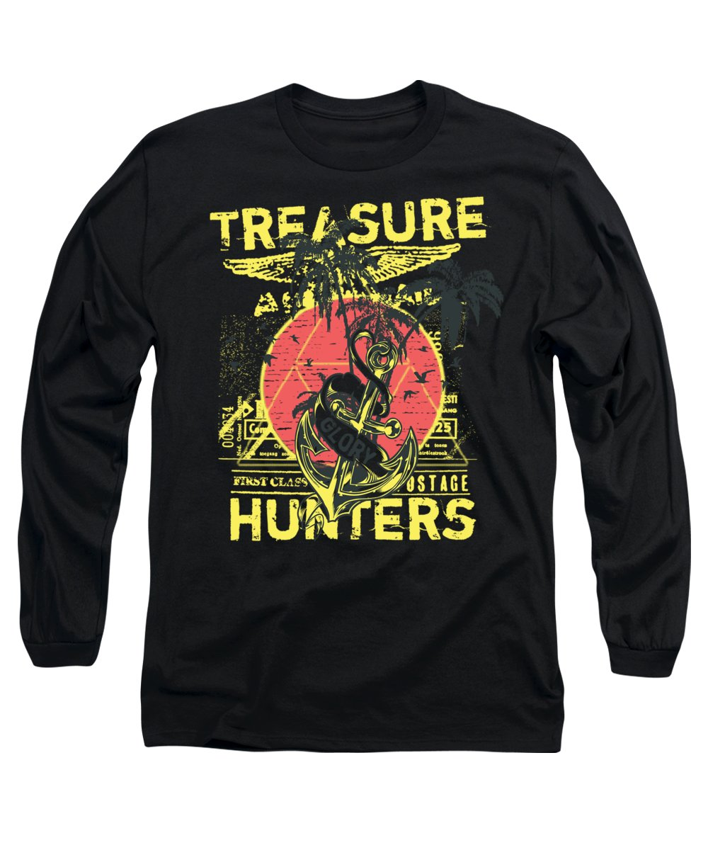 Skull Long Sleeve T-Shirt featuring the digital art Treasure Hunters Glory First Class by Passion Loft