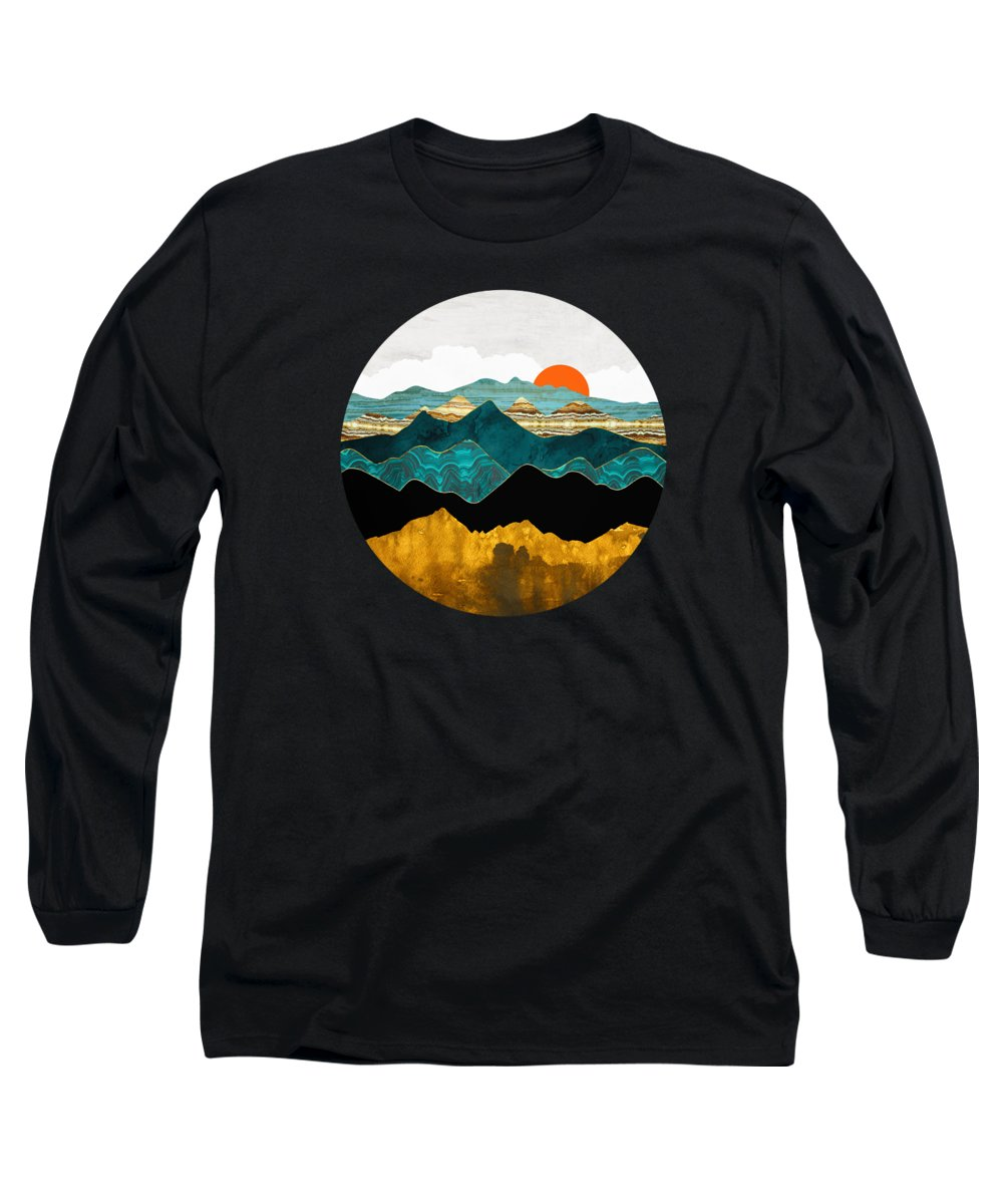 Digital Long Sleeve T-Shirt featuring the digital art Turquoise Vista by Spacefrog Designs