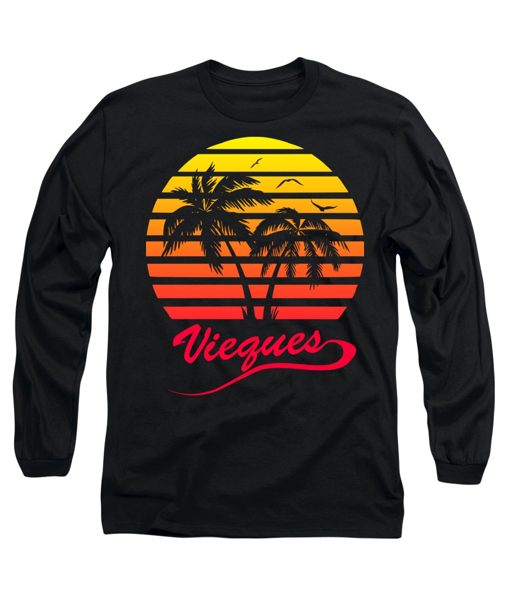 Puerto Rico Long Sleeve T-Shirt featuring the digital art Vieques Sunset by Filip Hellman