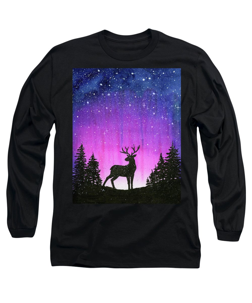 Watercolor Long Sleeve T-Shirt featuring the painting Winter Forest Galaxy Reindeer by Olga Shvartsur