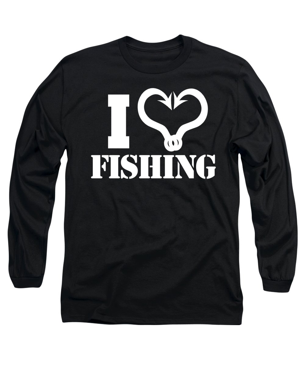 Fishing Puns Long Sleeve T-Shirt featuring the digital art I love fishing by Passion Loft