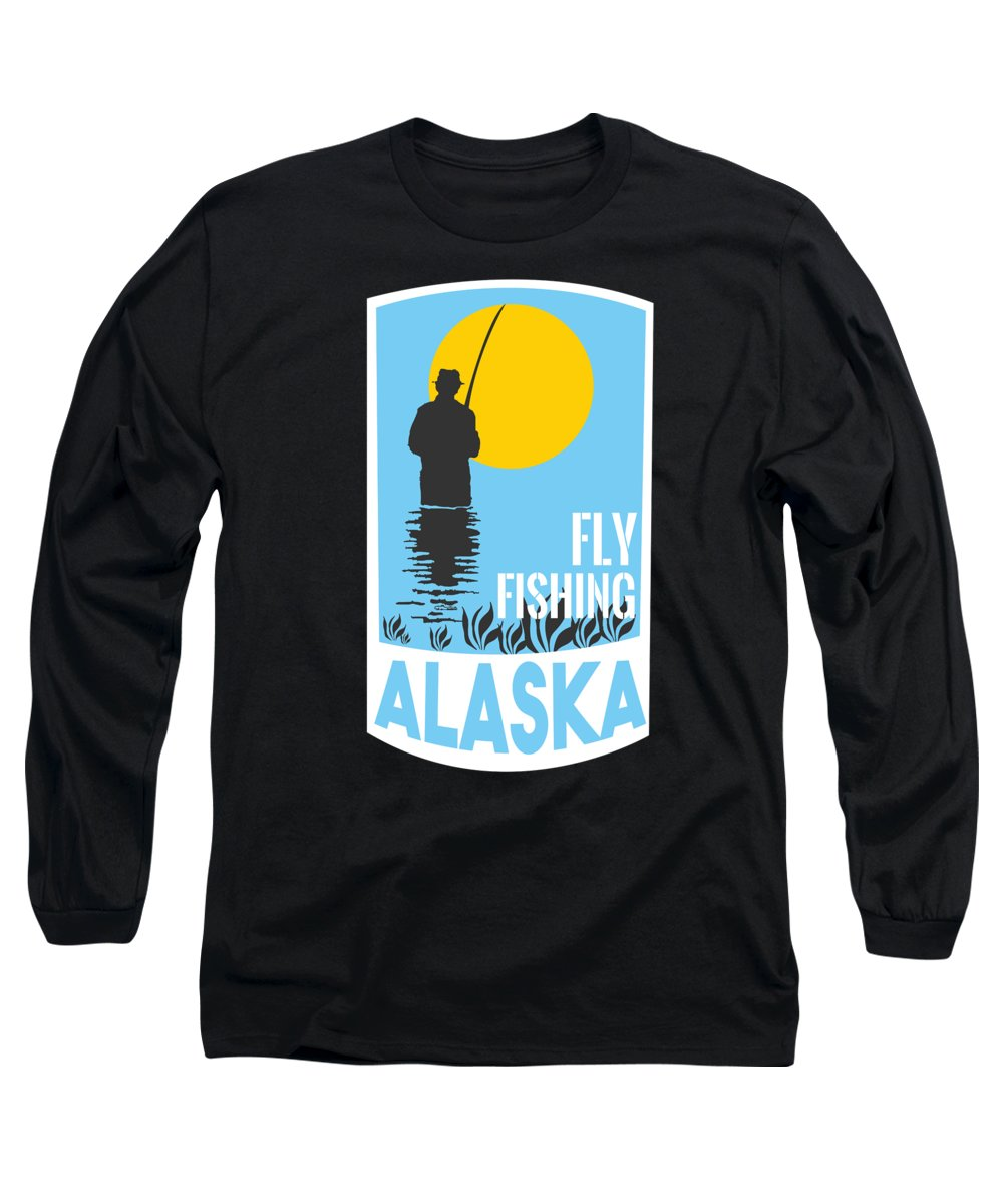 Fishing Puns Long Sleeve T-Shirt featuring the digital art Alaska Fly Fishing by Passion Loft
