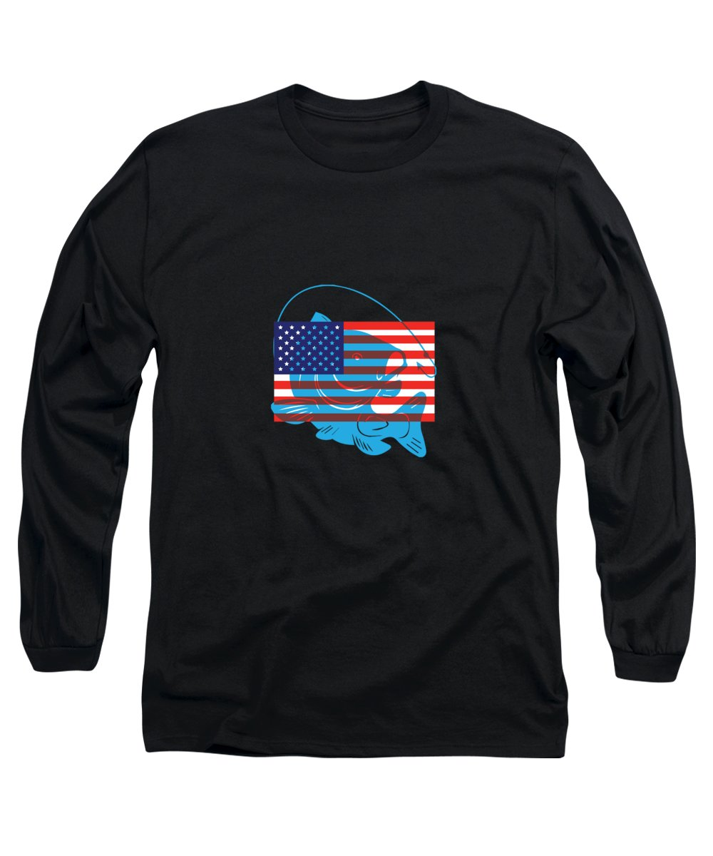 Fishing Puns Long Sleeve T-Shirt featuring the digital art American Flag Fishing by Passion Loft
