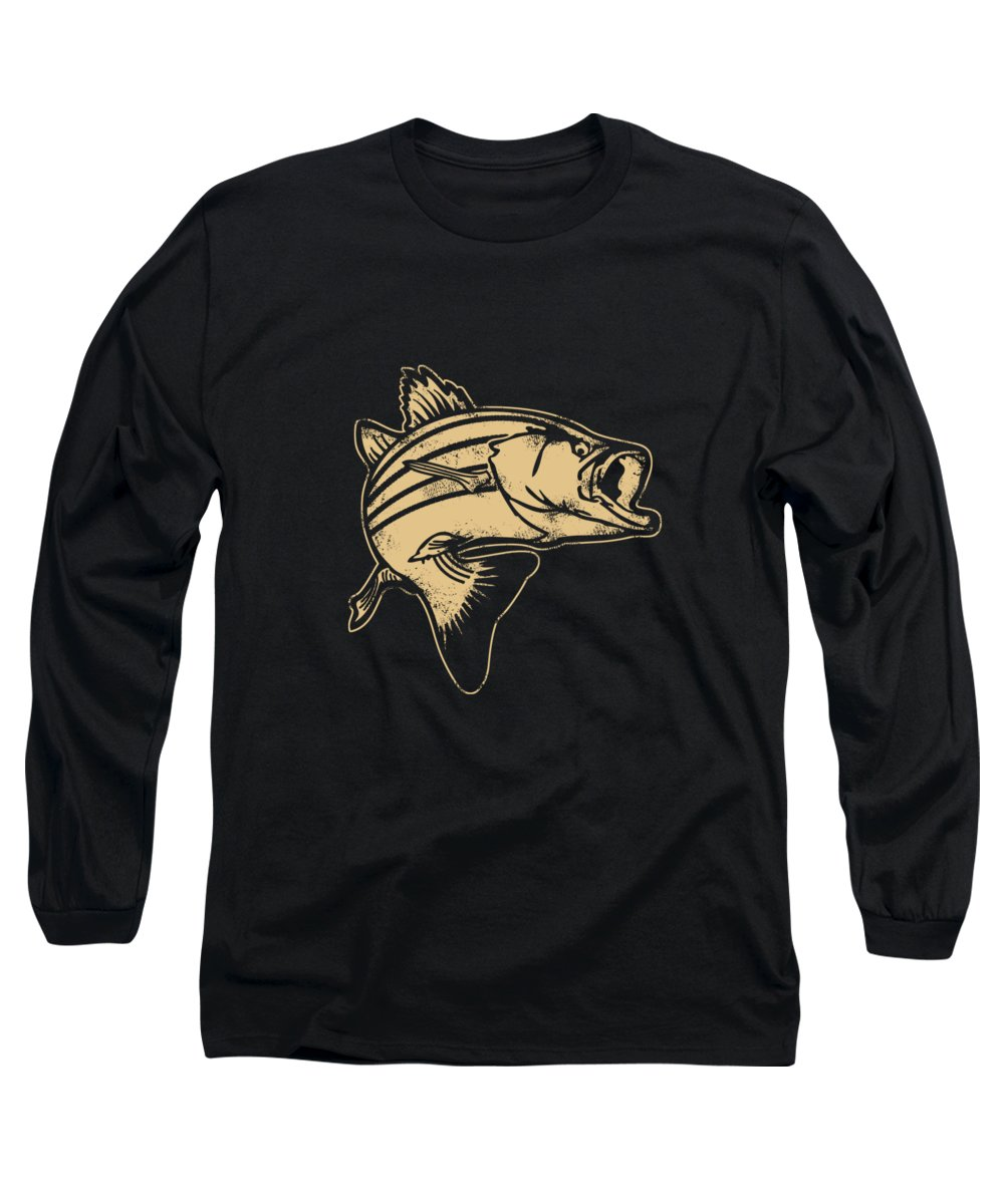 Fishing Lure Long Sleeve T-Shirt featuring the digital art Bass Fish Fishing Fisherman Angler Gift by Passion Loft