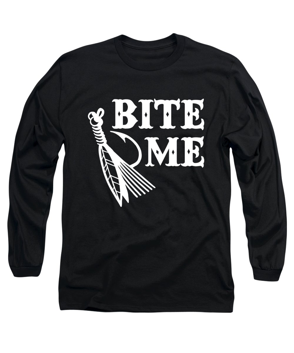 Fishing Puns Long Sleeve T-Shirt featuring the digital art Bite Me by Passion Loft