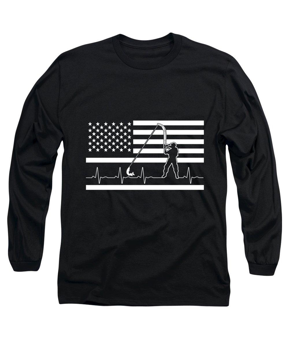 Fishing Lure Long Sleeve T-Shirt featuring the digital art Fishing American Flag Fisherman Heartbeat by Passion Loft