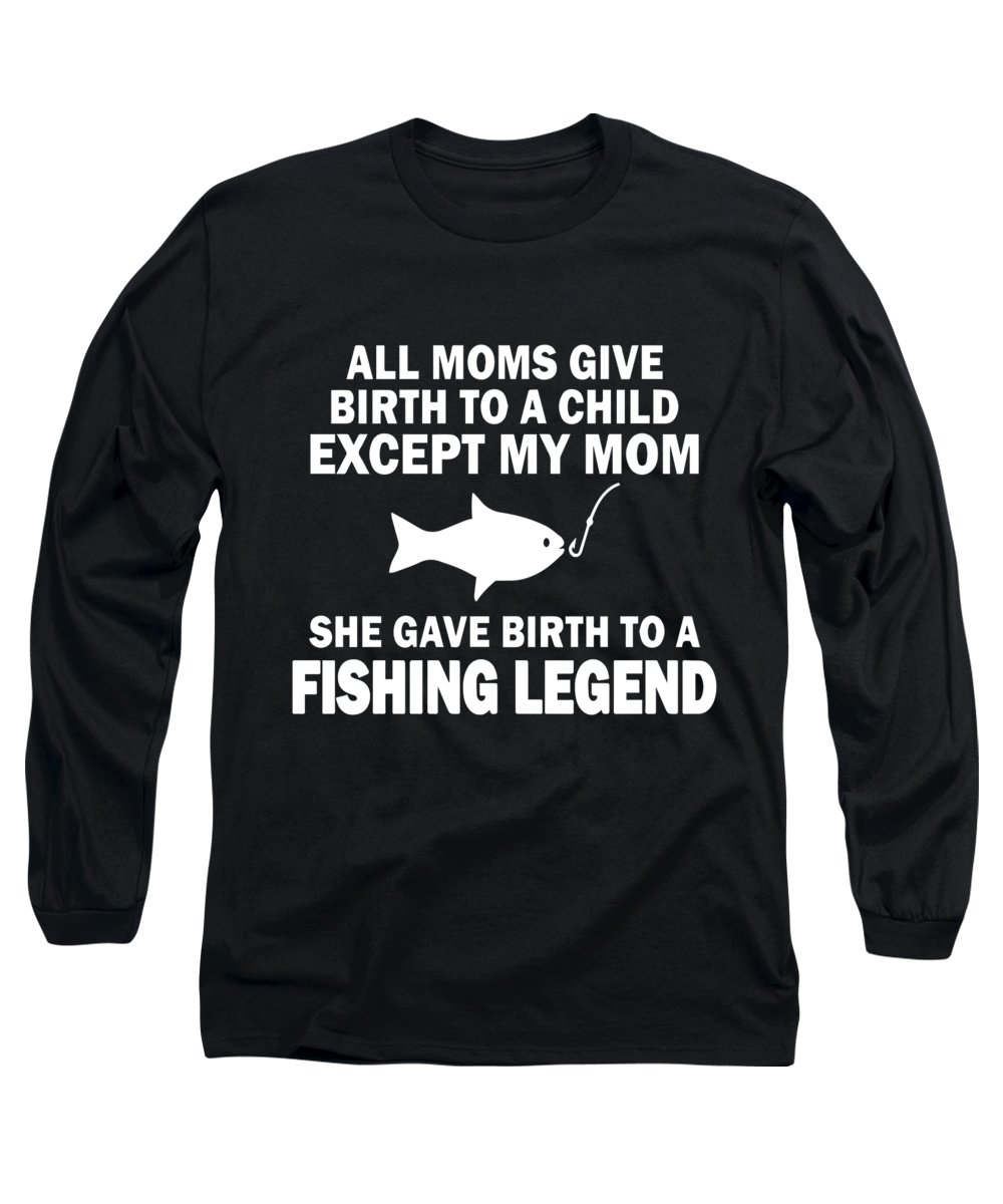 Fishing Puns Long Sleeve T-Shirt featuring the digital art Fishing Legend by Passion Loft