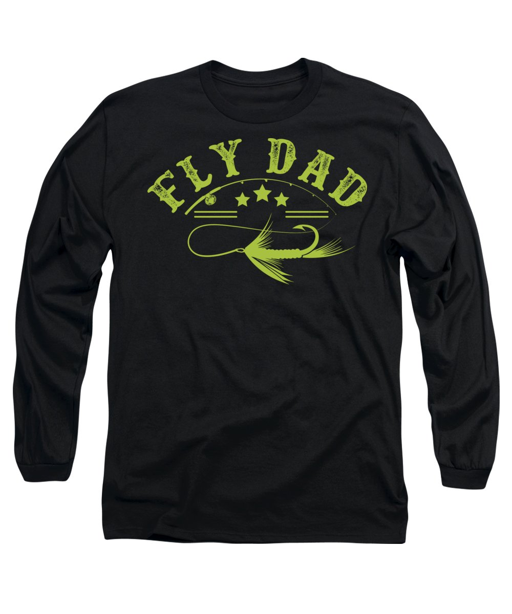 Fishing Hook Long Sleeve T-Shirt featuring the digital art Fly Dad Fishing Hook Fisherman by Passion Loft