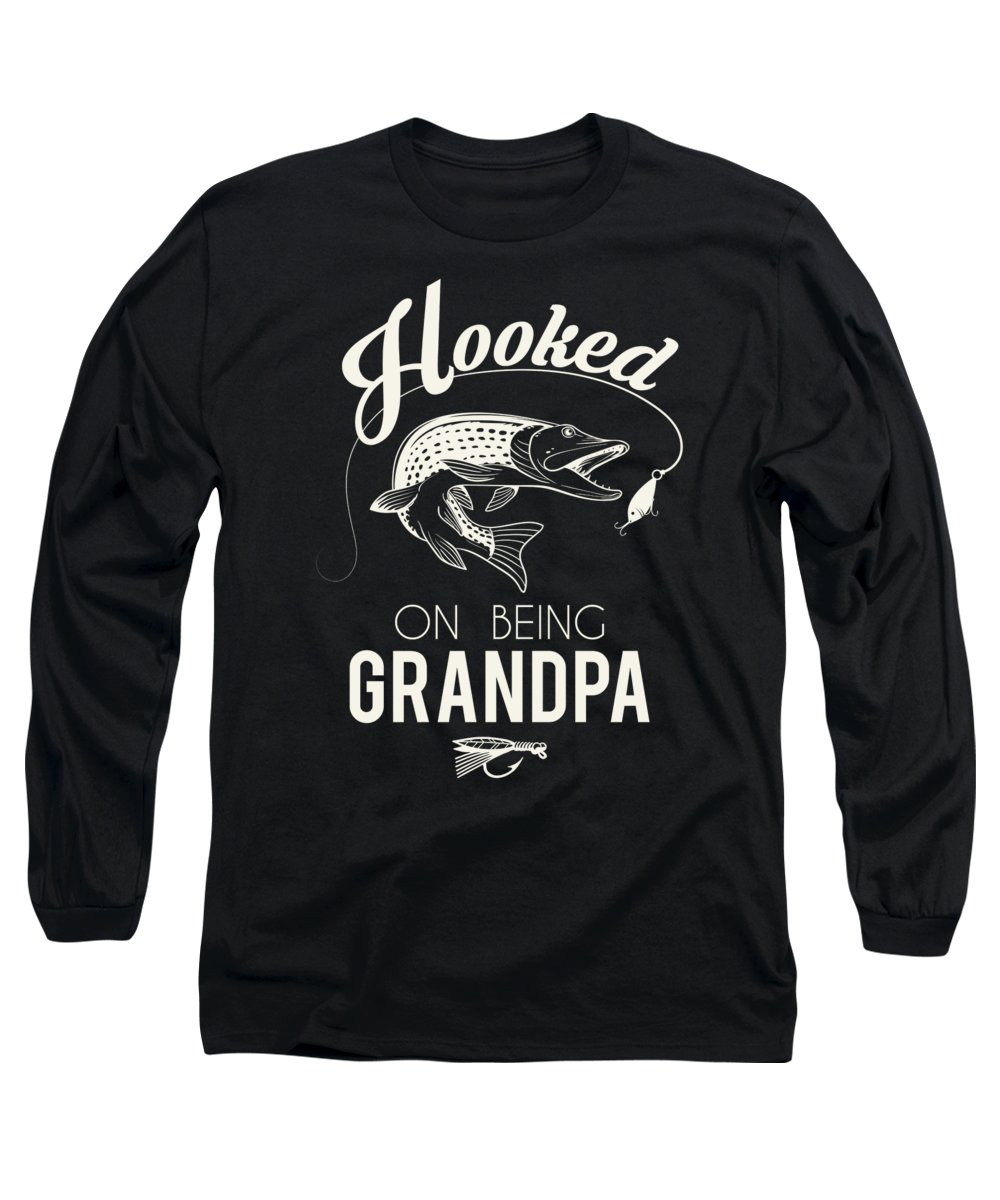 Fishing Puns Long Sleeve T-Shirt featuring the digital art Hooked on being Grandpa by Passion Loft