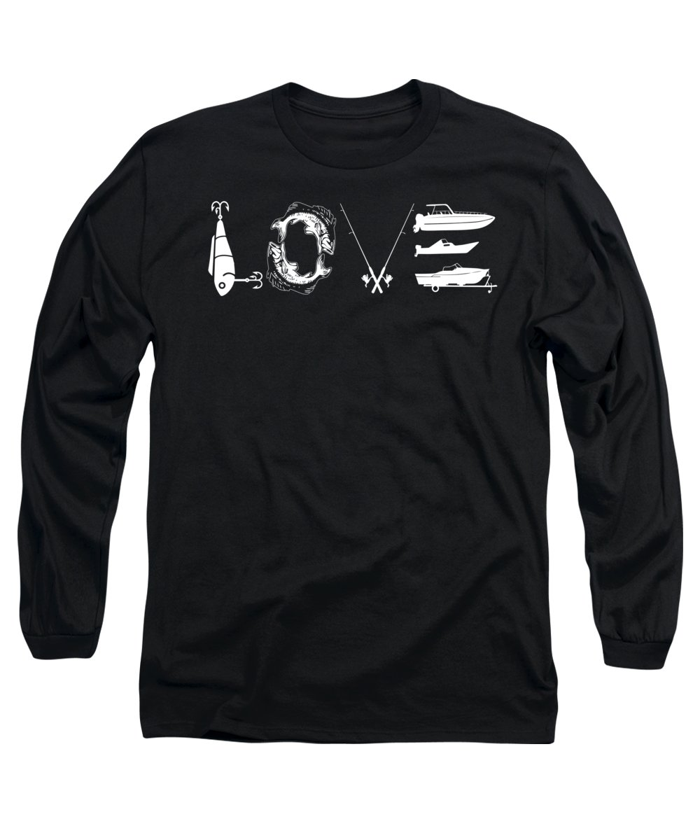 Fishing Lure Long Sleeve T-Shirt featuring the digital art Love Fishing Lure Bass Fish Pole Boat by Passion Loft