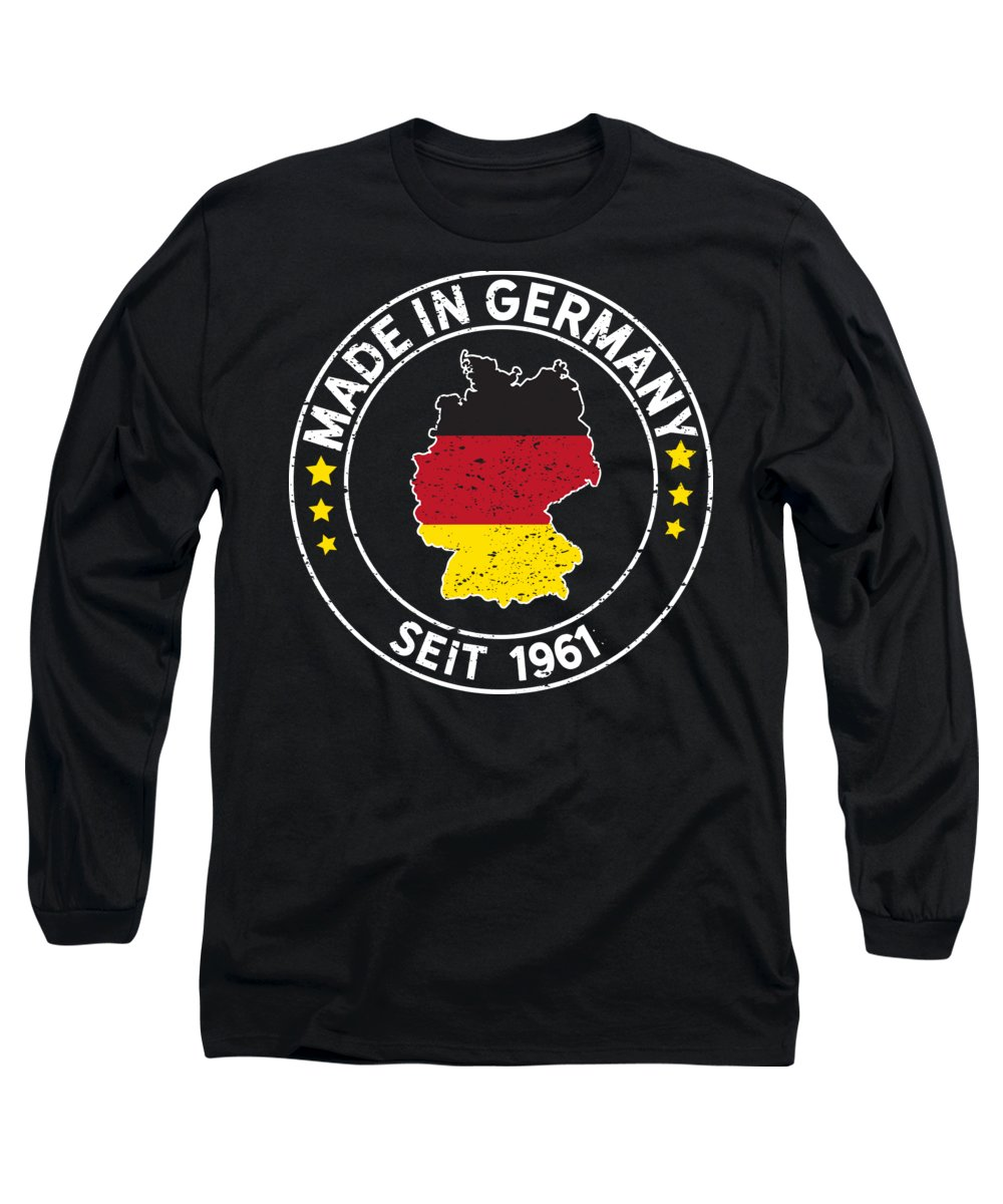 Happy Birthday Long Sleeve T-Shirt featuring the digital art Made In Germany Since 1961 Birthday Gift Idea by Haselshirt