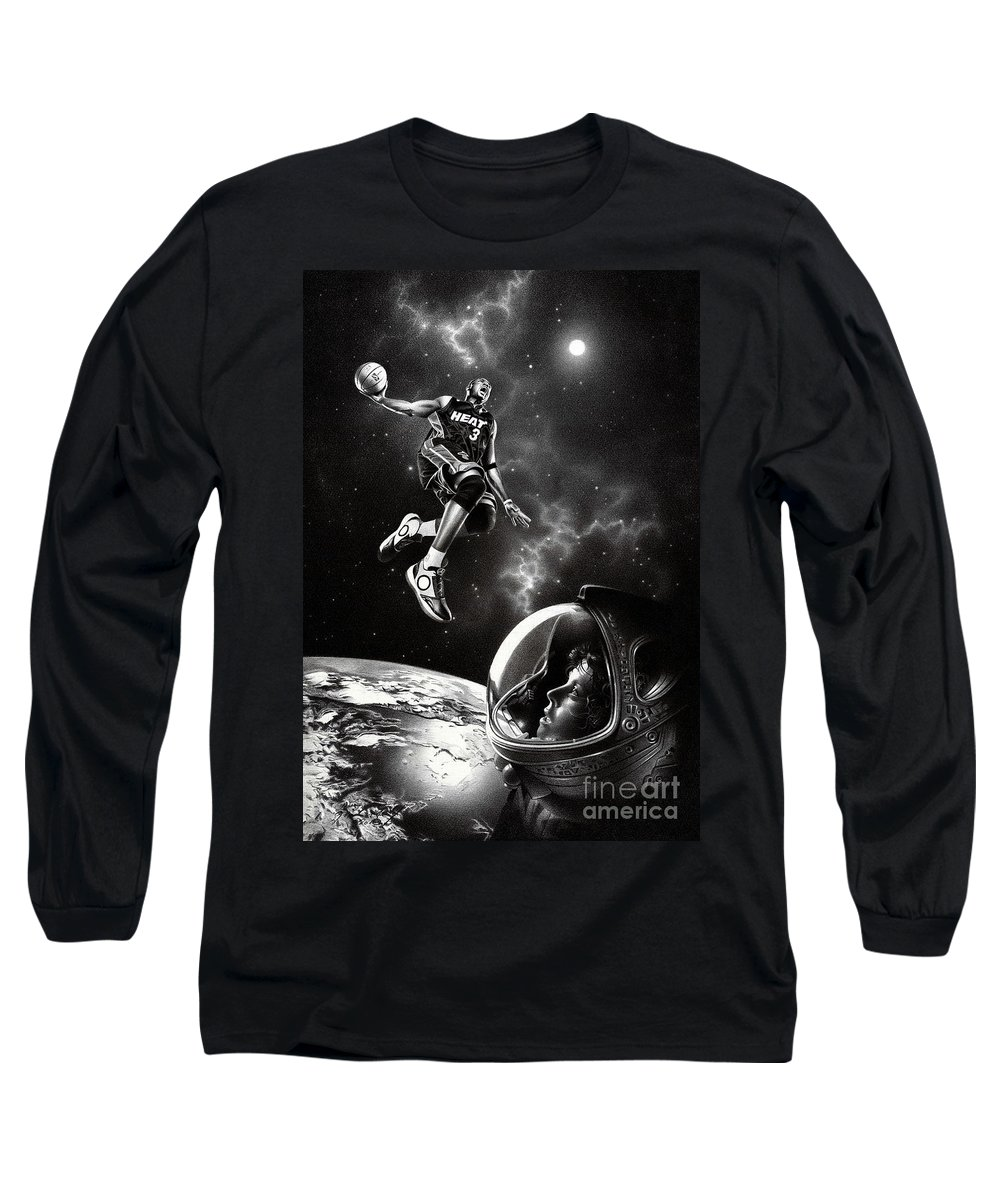 Basketball Long Sleeve T-Shirt featuring the drawing Nba Live by Miro Gradinscak