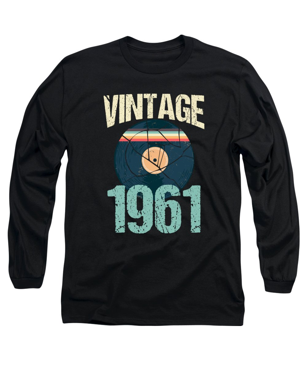 59 Years Old Long Sleeve T-Shirt featuring the digital art Retro Vintage 1961 59 Th Birthday Record Vinyl Vintage Disco Bday Gift by Thomas Larch