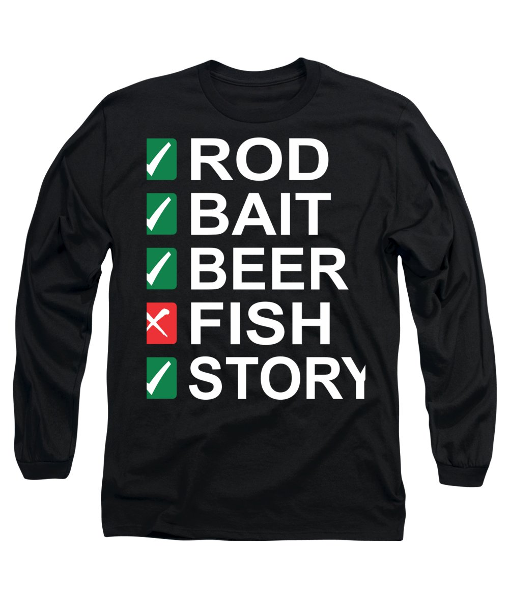 Fishing Puns Long Sleeve T-Shirt featuring the digital art Rod Bait Beer Fish Story by Passion Loft