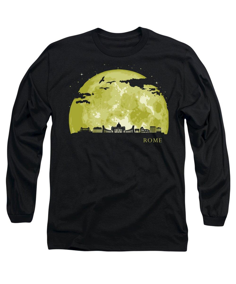 Italy Long Sleeve T-Shirt featuring the digital art ROME Moon Light Night Stars Skyline by Filip Schpindel