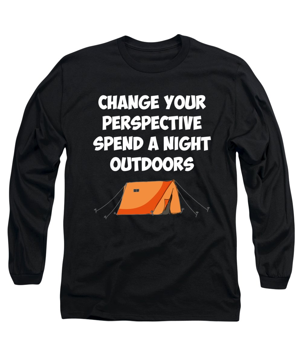 Angling Long Sleeve T-Shirt featuring the digital art Spend a Night Outdoors Camping Hiking by Passion Loft