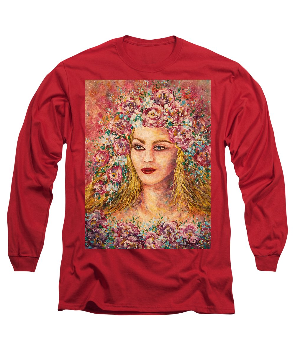 Goddess Long Sleeve T-Shirt featuring the painting Good Fortune Goddess by Natalie Holland