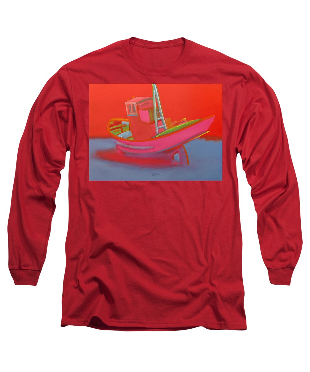 Fishing Long Sleeve T-Shirt featuring the painting Abandoned Red Fishing Trawler by Charles Stuart