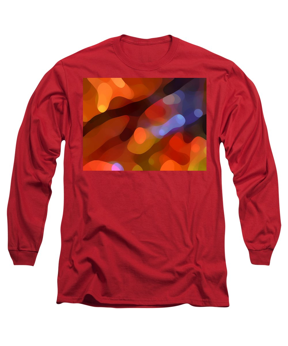 Abstract Art Long Sleeve T-Shirt featuring the painting Abstract Fall Light by Amy Vangsgard