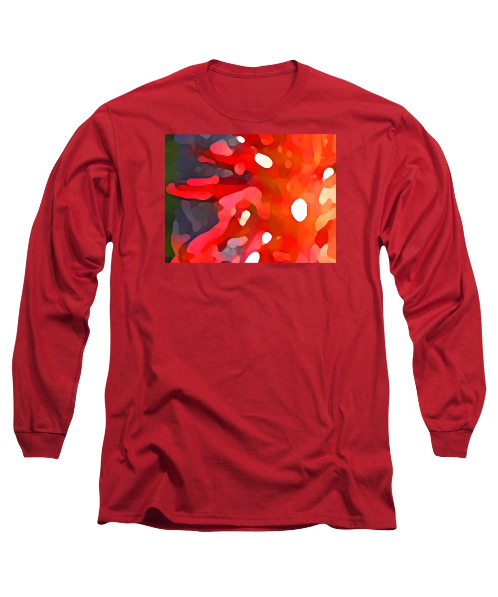 Bold Long Sleeve T-Shirt featuring the painting Abstract Red Sun by Amy Vangsgard