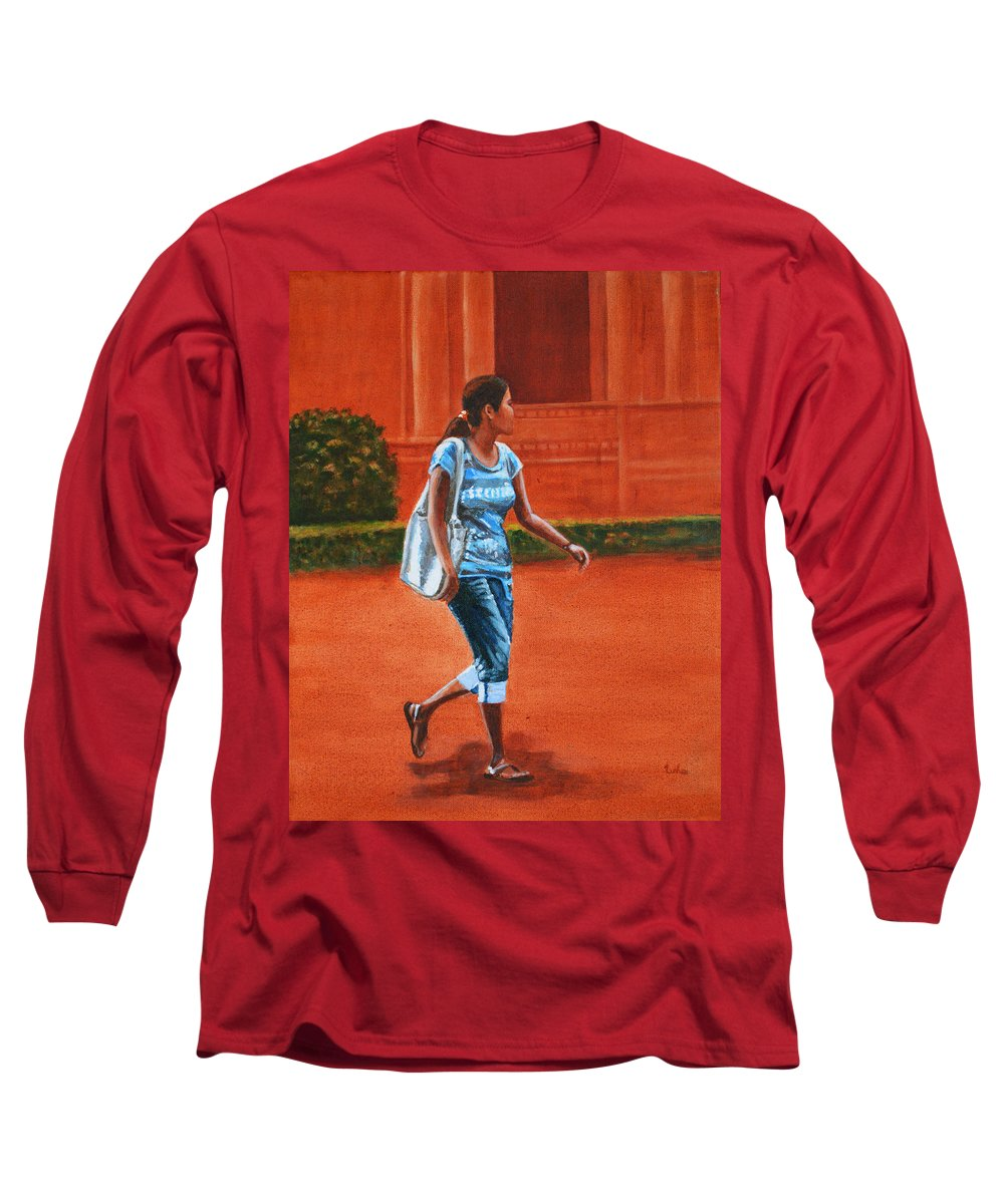 City Long Sleeve T-Shirt featuring the painting City Girl by Usha Shantharam