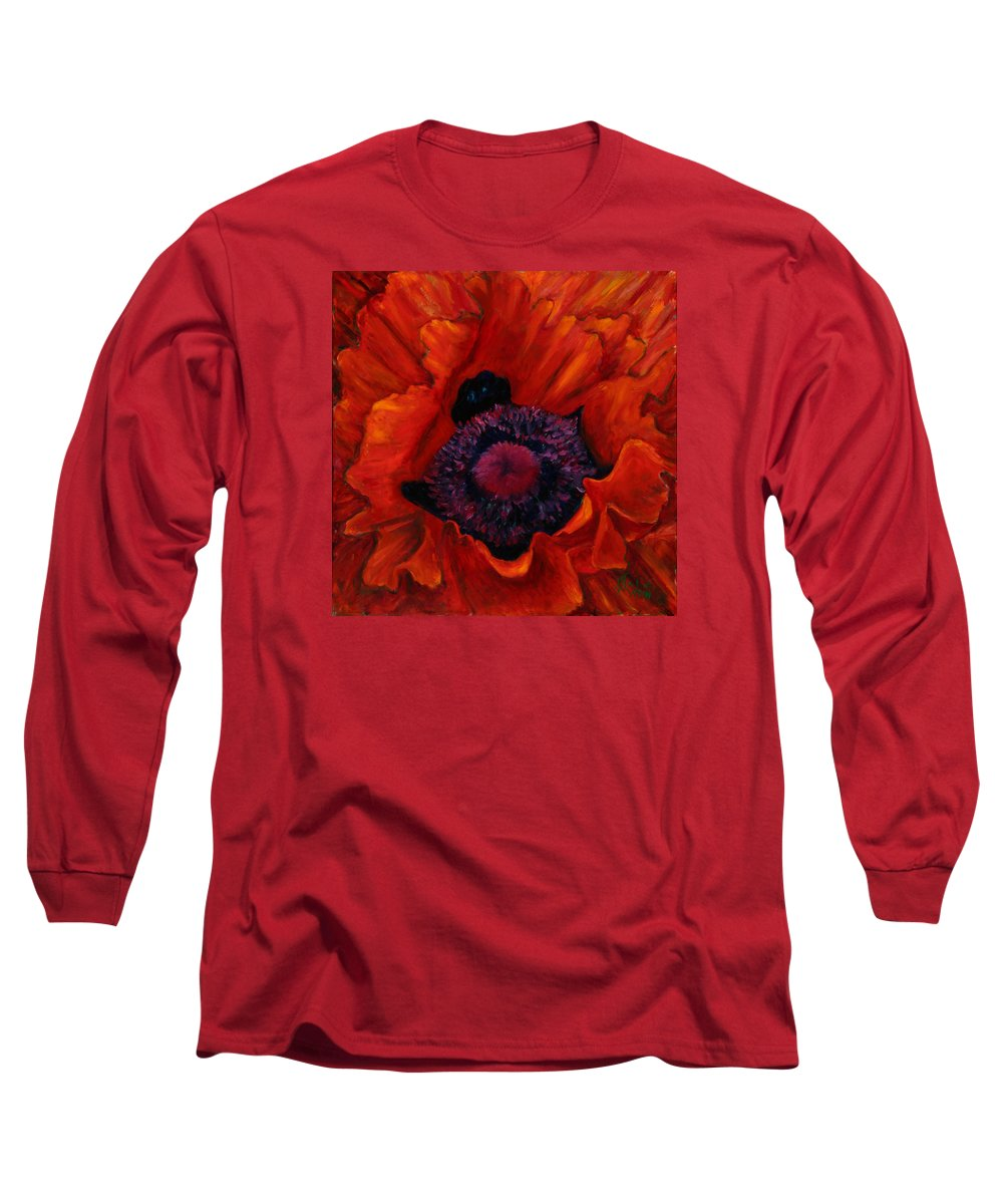 Red Poppy Long Sleeve T-Shirt featuring the painting Close Up Poppy by Billie Colson