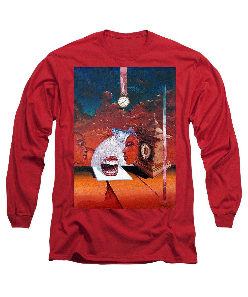 Otto+rapp Surrealism Surreal Fantasy Time Clocks Watch Consumption Long Sleeve T-Shirt featuring the painting Consumption Of Time by Otto Rapp