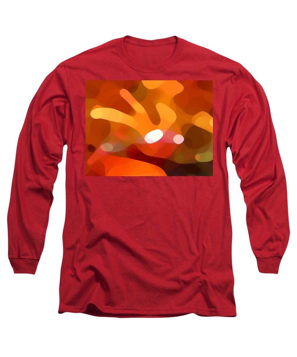 Abstract Long Sleeve T-Shirt featuring the painting Fall Day by Amy Vangsgard