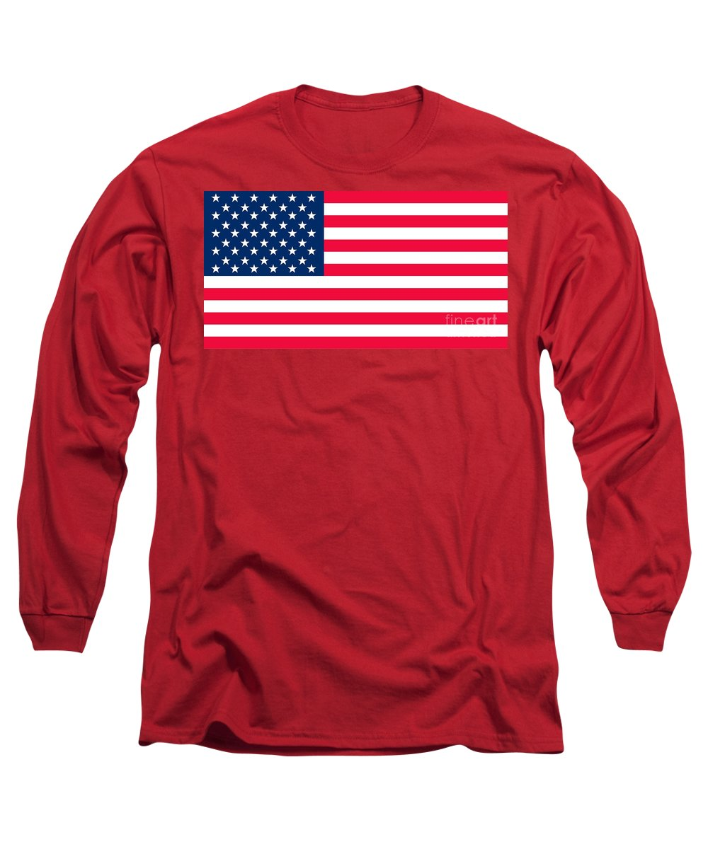 America Long Sleeve T-Shirt featuring the painting Flag Of The United States Of America by Anonymous
