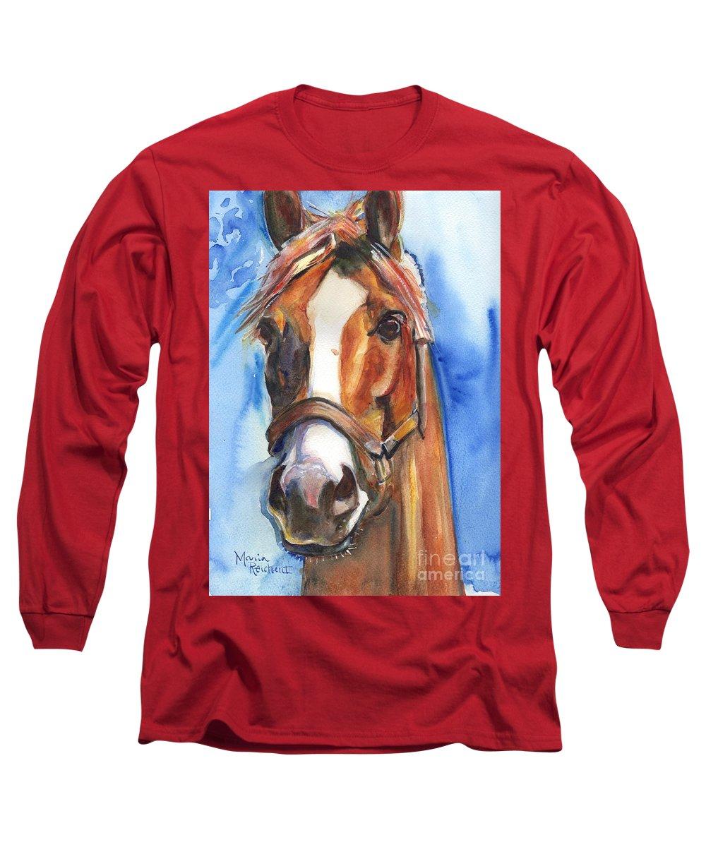California Chrome Long Sleeve T-Shirt featuring the painting Horse Painting Of California Chrome Go Chrome by Maria Reichert