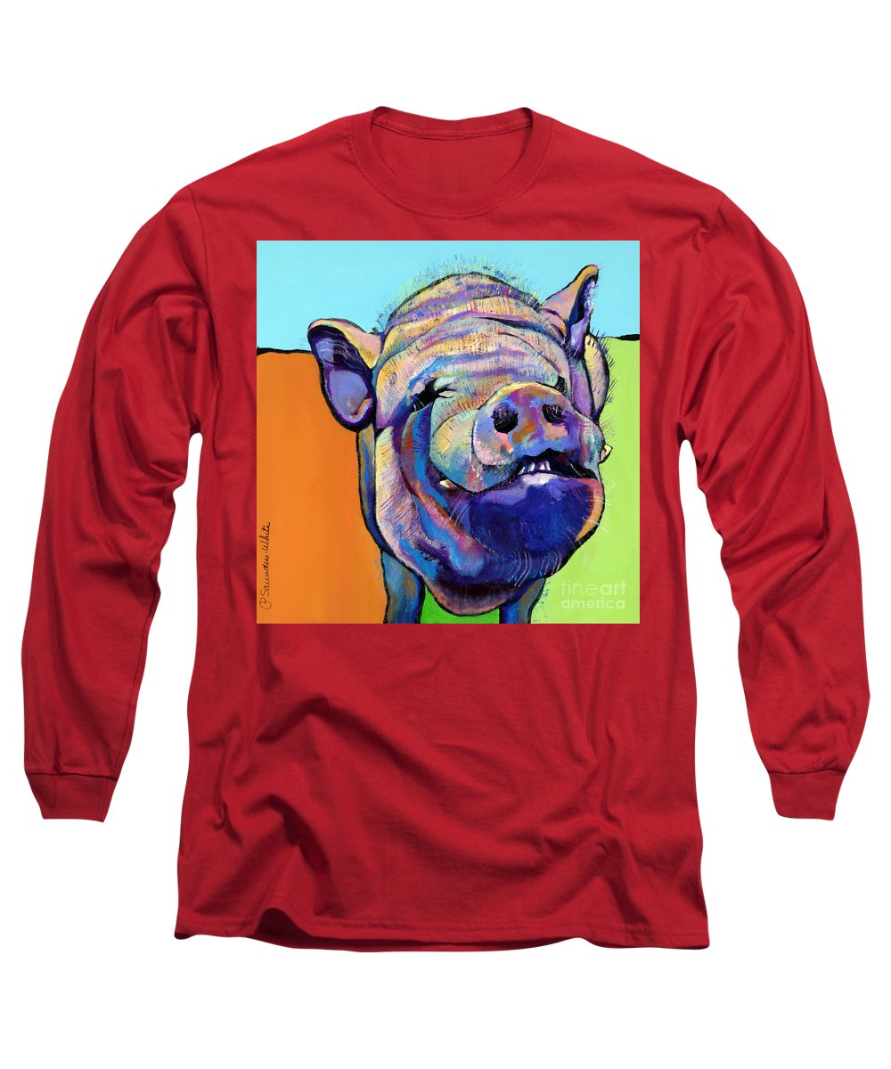 Pat Saunders-white Canvas Prints Long Sleeve T-Shirt featuring the painting Grunt  by Pat Saunders-White