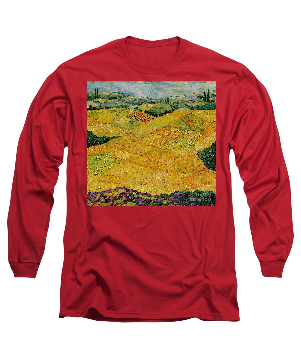 Landscape Long Sleeve T-Shirt featuring the painting Harvest Joy by Allan P Friedlander