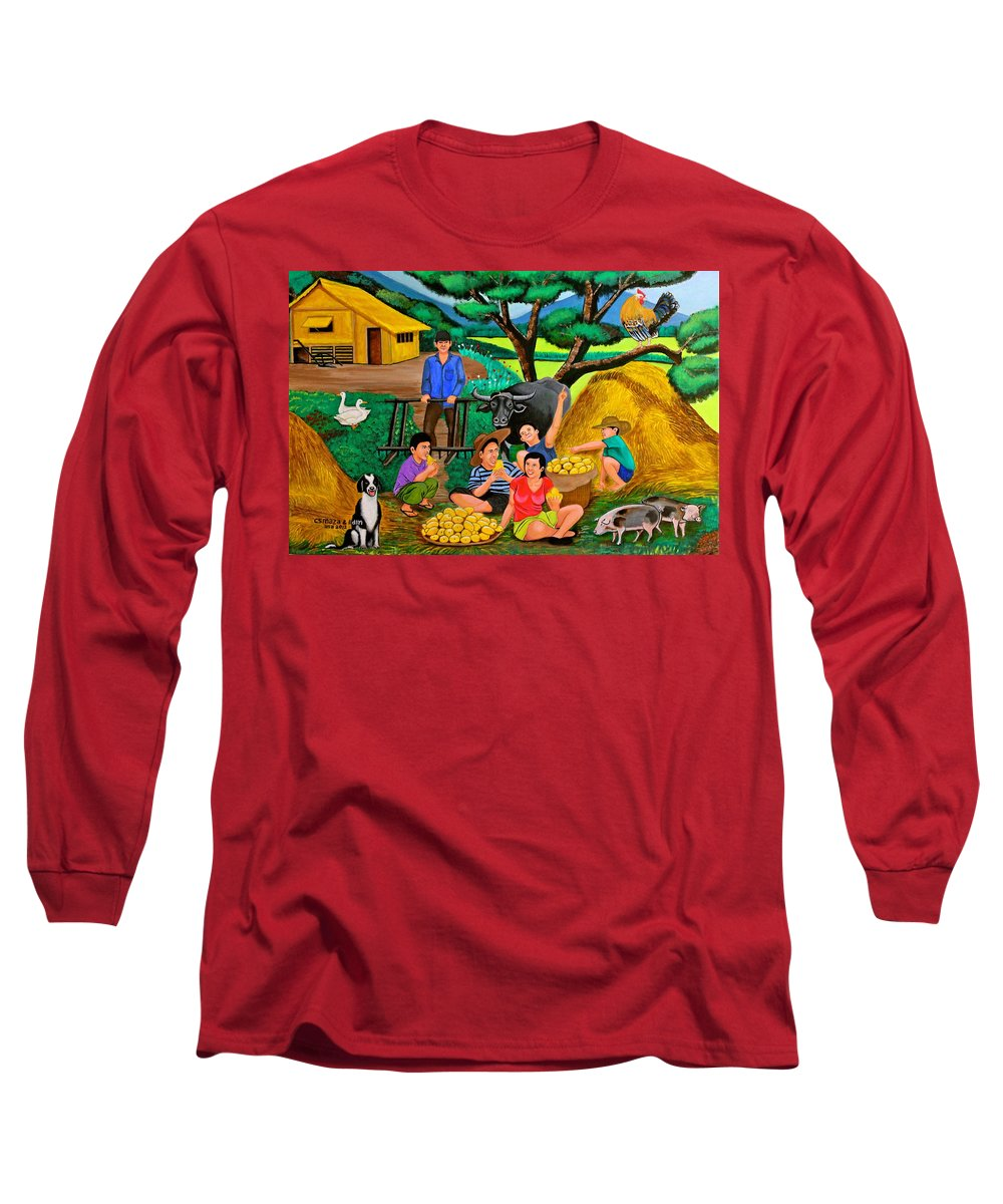 Landscape Long Sleeve T-Shirt featuring the painting Harvest Time by Cyril Maza