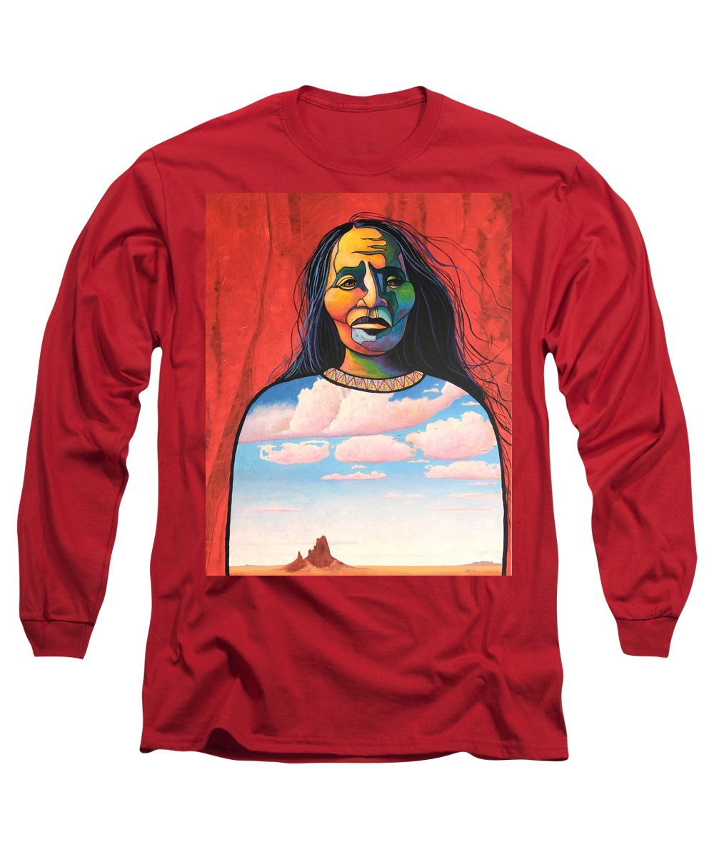 Native American Long Sleeve T-Shirt featuring the painting Into Her Spirit by Joe Triano