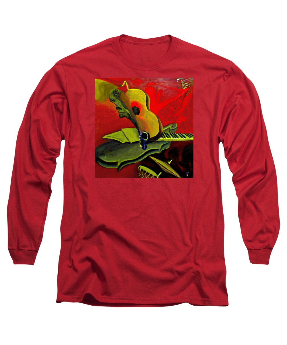 Abstract Long Sleeve T-Shirt featuring the painting Jazz Infusion by Fli Art