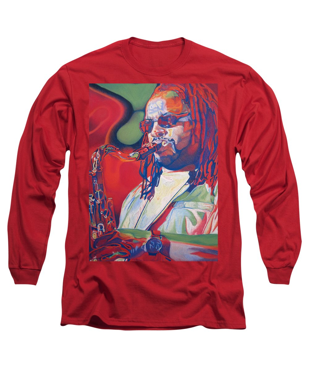Leroi Moore Long Sleeve T-Shirt featuring the drawing Leroi Moore Colorful Full Band Series by Joshua Morton