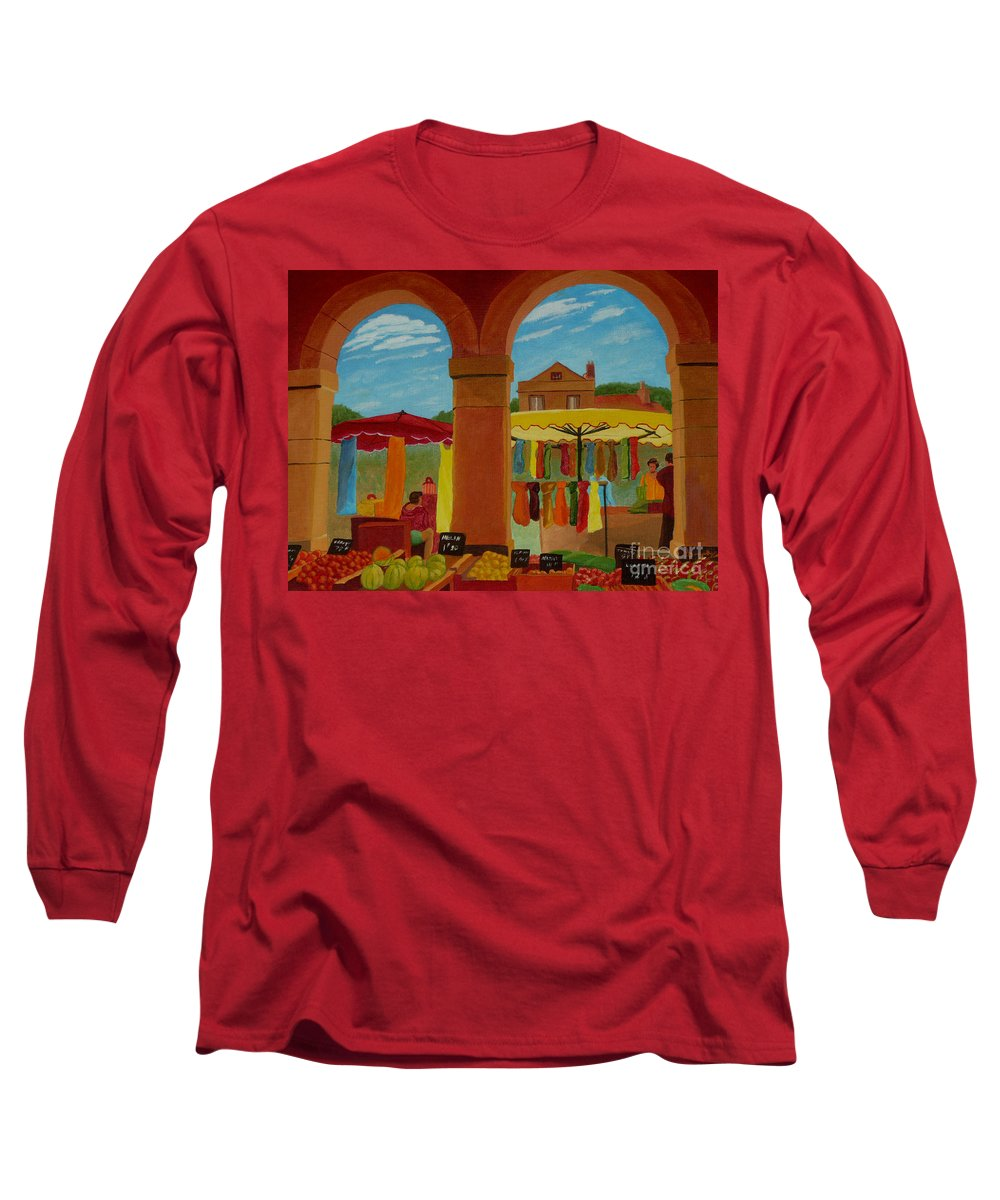 Landscape Long Sleeve T-Shirt featuring the painting Market Day by Anthony Dunphy