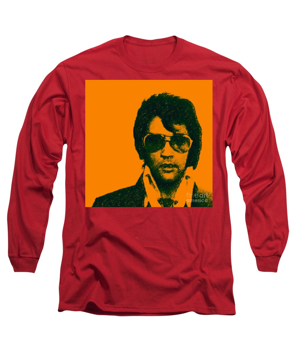 Celebrity Long Sleeve T-Shirt featuring the photograph Mugshot Elvis Presley Square by Wingsdomain Art and Photography