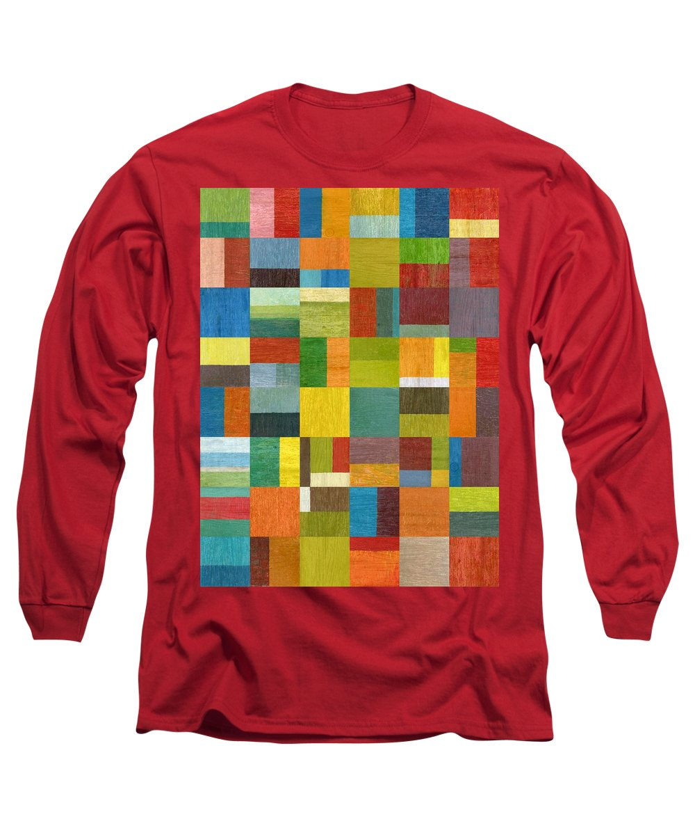 Abstract Long Sleeve T-Shirt featuring the painting Multiple Exposures Lv by Michelle Calkins