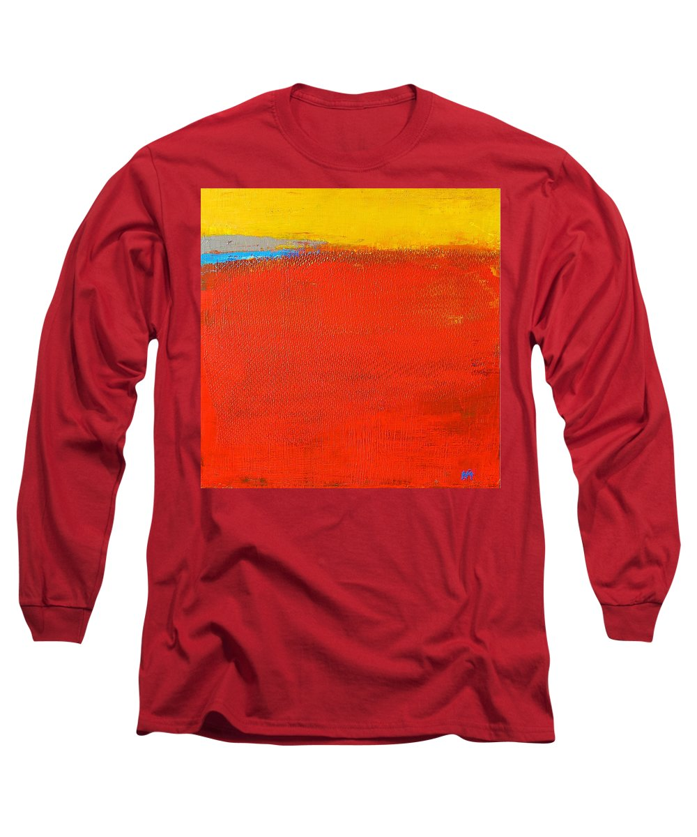 Landscape Long Sleeve T-Shirt featuring the painting Nature Rouge by Habib Ayat