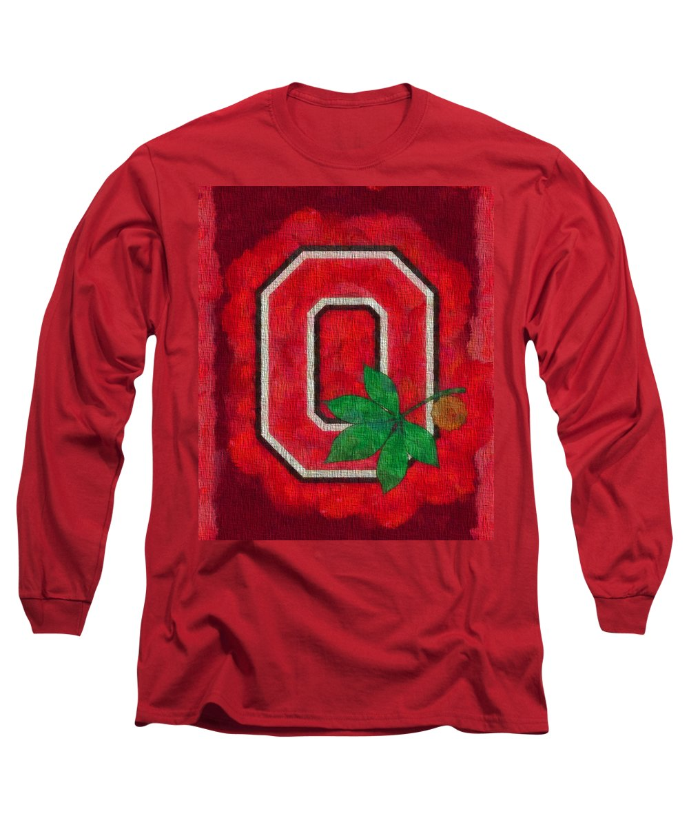 Ohio State Buckeyes On Canvas Long Sleeve T-Shirt featuring the painting Ohio State Buckeyes On Canvas by Dan Sproul