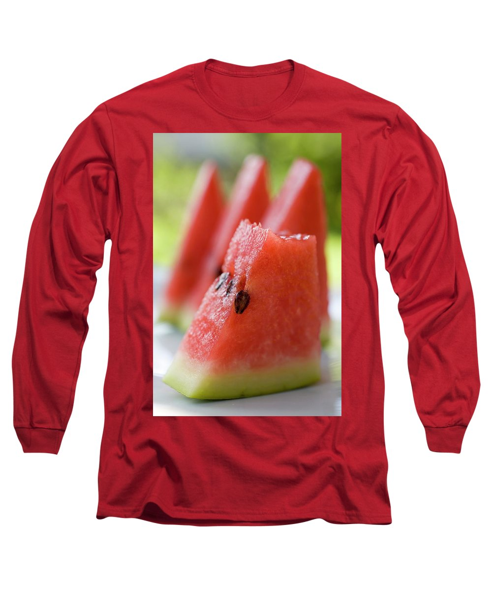 Bowler Hat Long Sleeve T-Shirt featuring the photograph Pieces Of Watermelon by Foodcollection