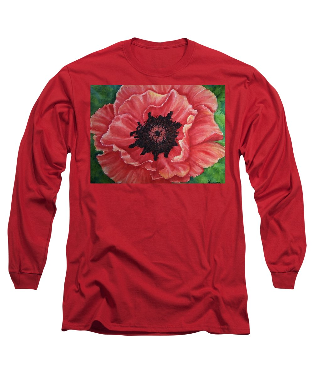 Poppy Long Sleeve T-Shirt featuring the painting Poppy by Conni Reinecke