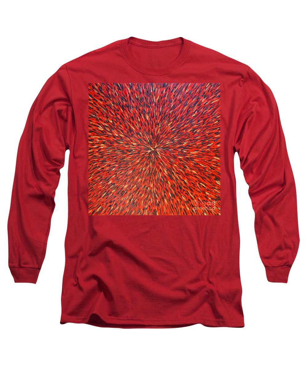 Abstract Long Sleeve T-Shirt featuring the painting Radiation Red by Dean Triolo