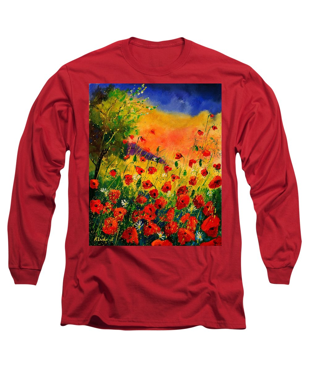 Poppies Long Sleeve T-Shirt featuring the painting Red Poppies 45 by Pol Ledent