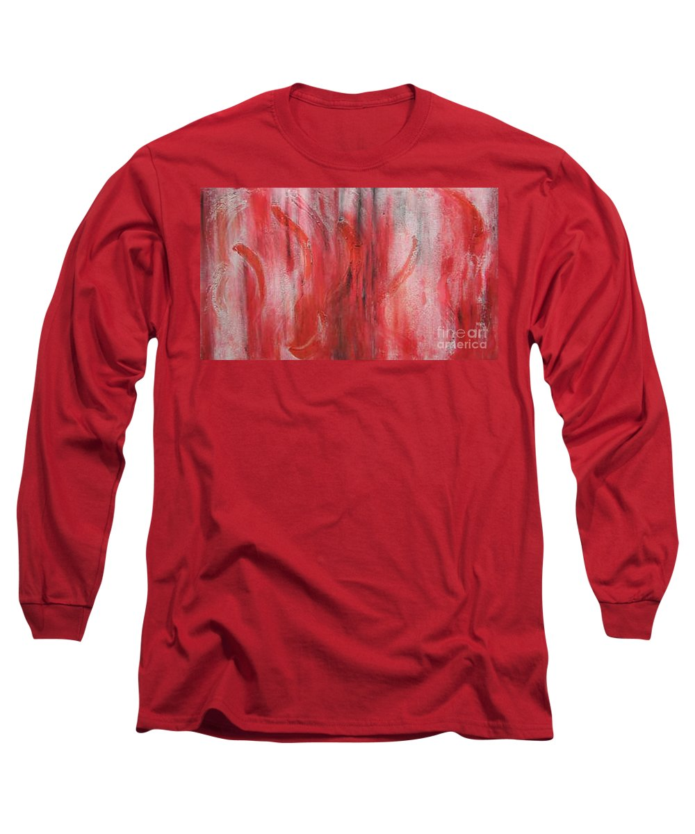 Modern Art Long Sleeve T-Shirt featuring the painting Red Sea by Silvana Abel
