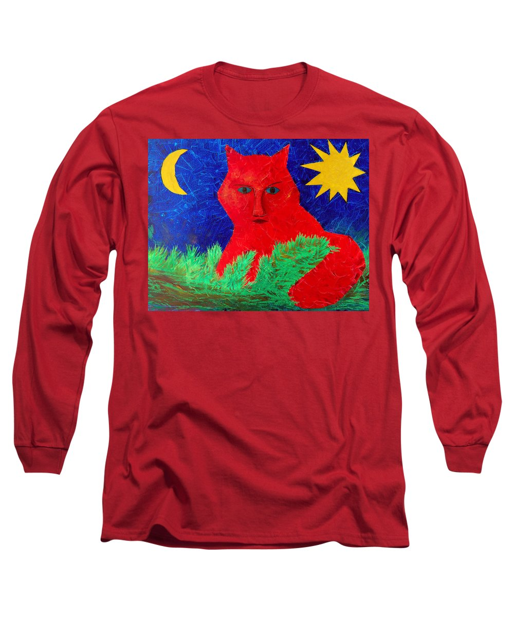Fantasy Long Sleeve T-Shirt featuring the painting Red by Sergey Bezhinets