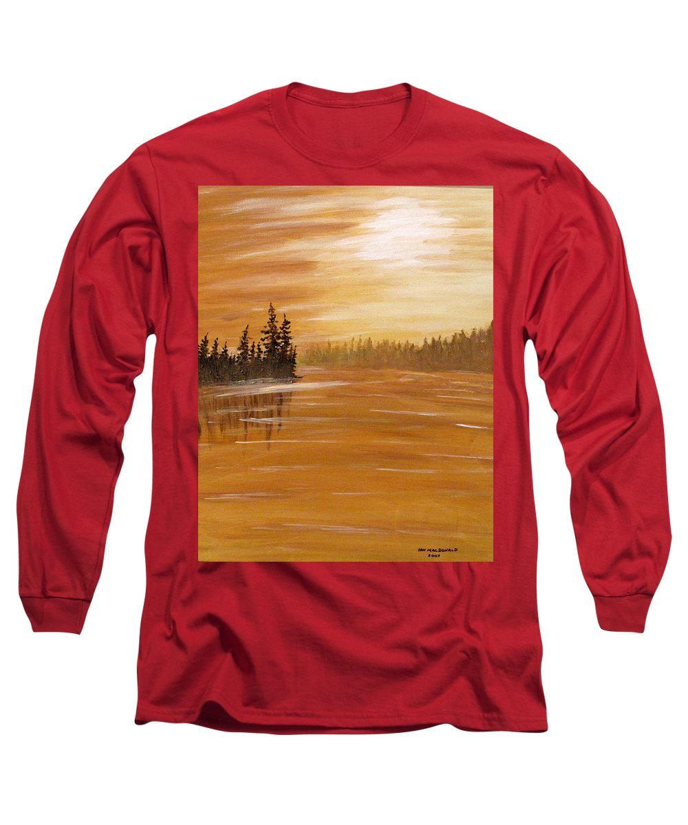Northern Ontario Long Sleeve T-Shirt featuring the painting Rock Lake Morning 1 by Ian MacDonald