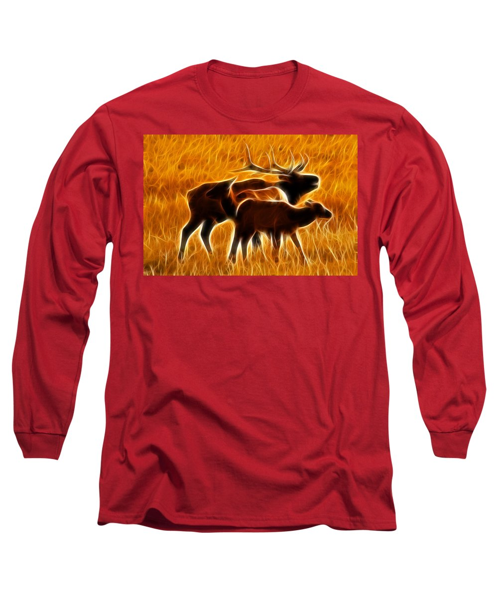 Elk Long Sleeve T-Shirt featuring the photograph Standing In The Flames by Shane Bechler